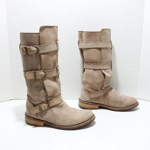 Steve Madden 3 buckle strap suede boots size 8